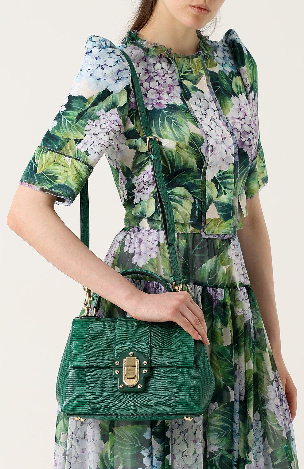 Сумка Lucia из тисненой кожи Dolce & Gabbana зеленая цвета   Фото №5