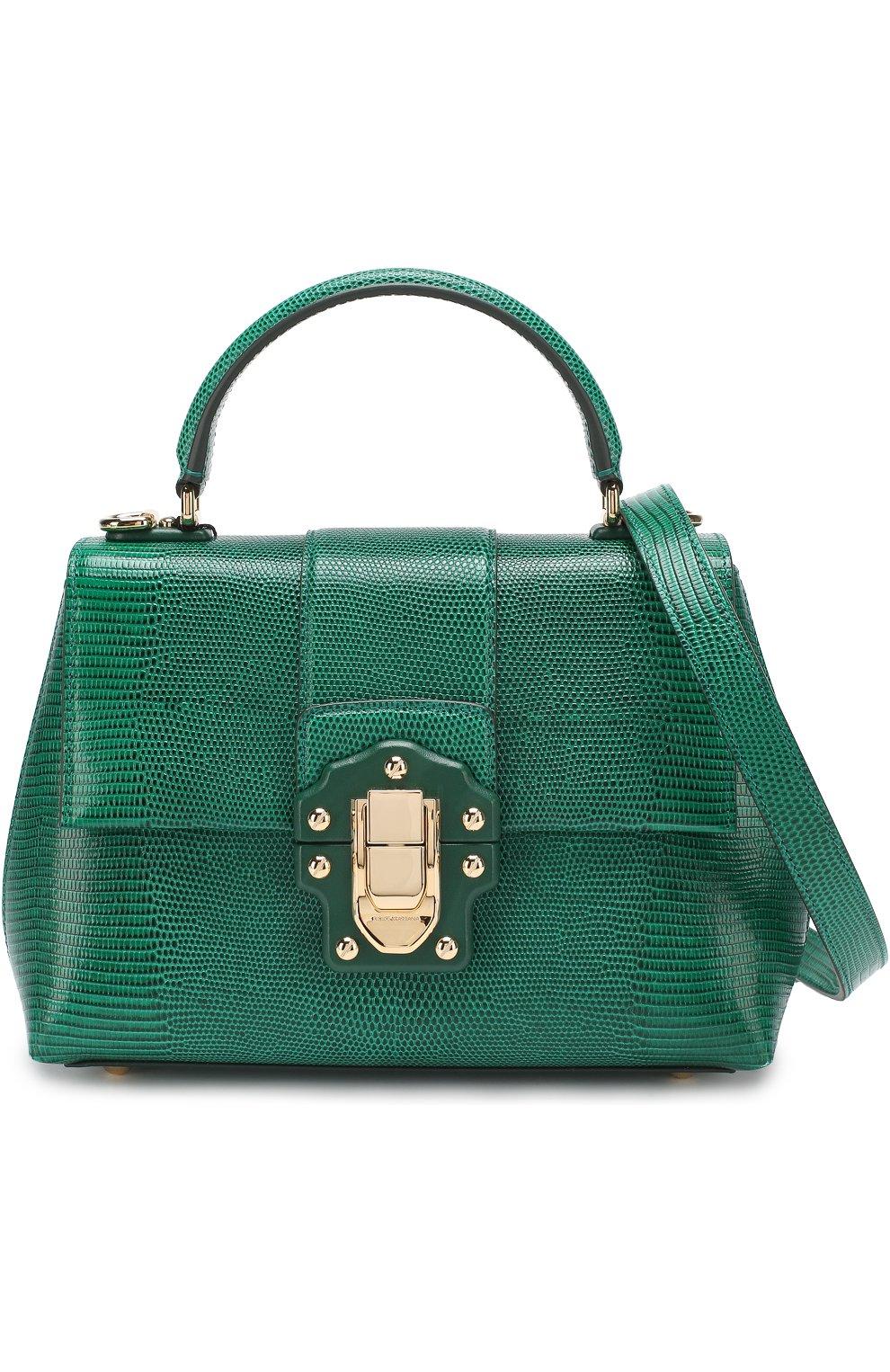 Сумка Lucia из тисненой кожи Dolce & Gabbana зеленая цвета   Фото №6