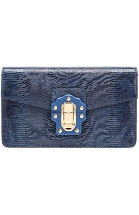 Сумка Lucia из тисненой кожи Dolce & Gabbana темно-синяя цвета | Фото №1