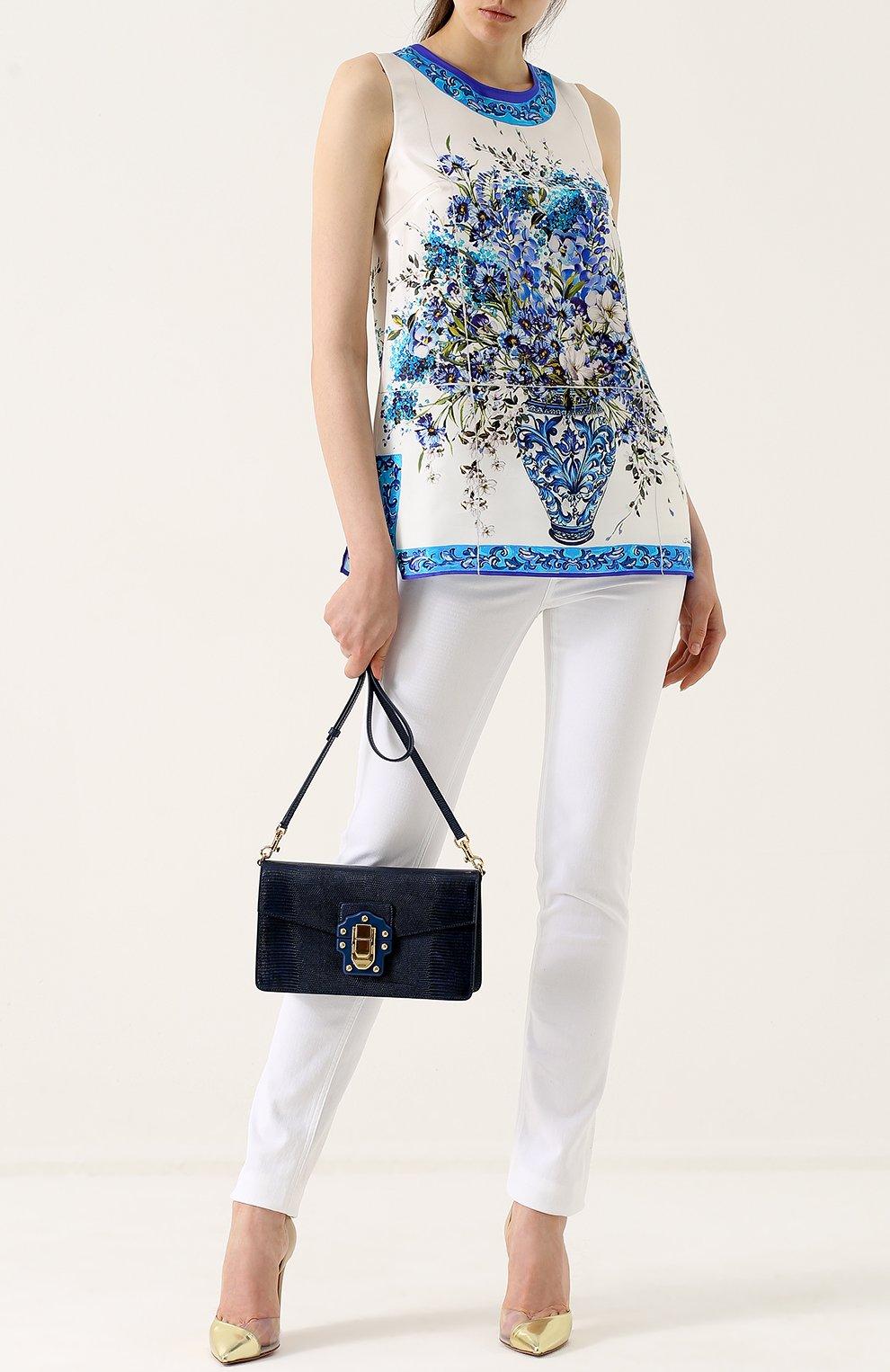 Сумка Lucia из тисненой кожи Dolce & Gabbana темно-синяя цвета | Фото №2