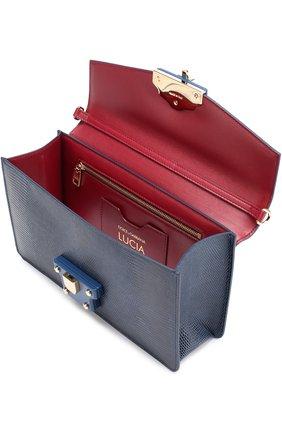 Сумка Lucia из тисненой кожи Dolce & Gabbana темно-синяя цвета | Фото №4