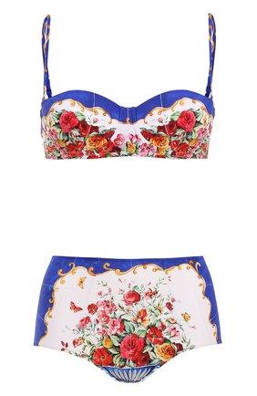 Купальник с плавками-бикини с завышенной талией и принтом Dolce & Gabbana разноцветный   Фото №1