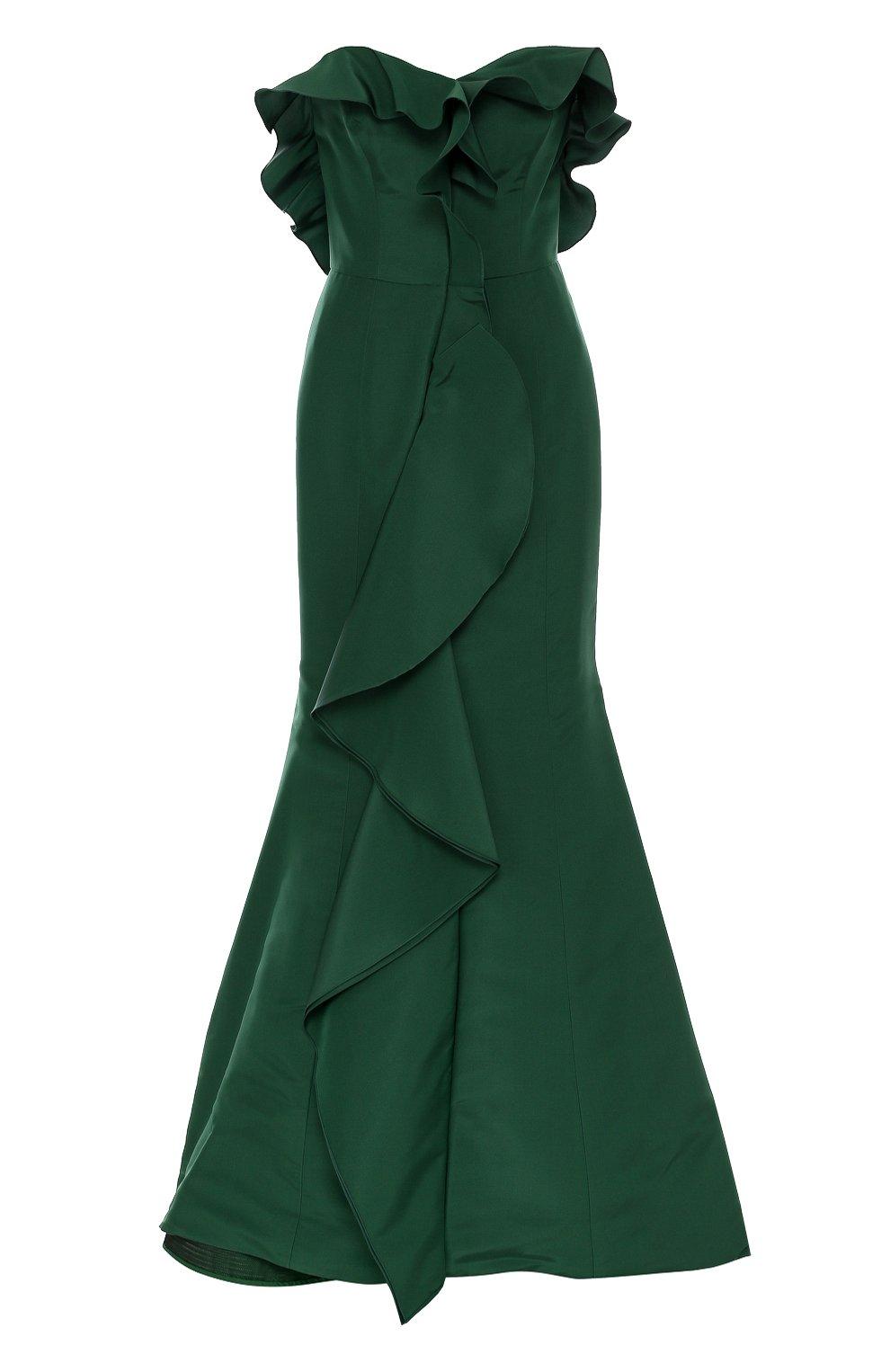 54b8dfd0c742 Женское зеленое шелковое платье-бюстье с подолом и оборками OSCAR DE ...