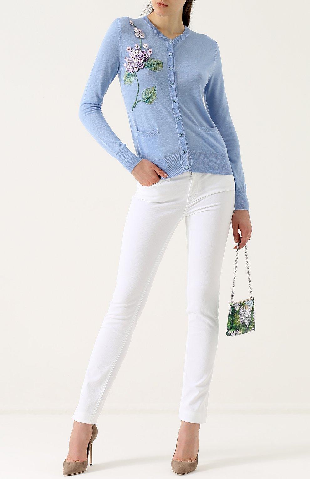 Однотонные джинсы прямого кроя Dolce & Gabbana белые | Фото №2