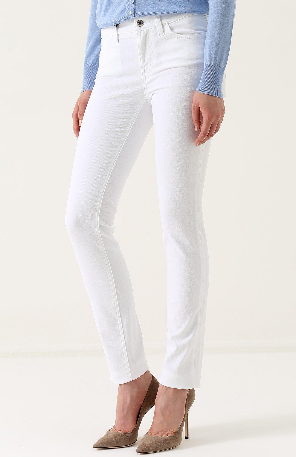 Однотонные джинсы прямого кроя Dolce & Gabbana белые | Фото №3