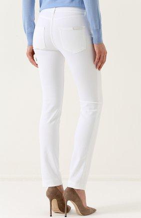 Однотонные джинсы прямого кроя Dolce & Gabbana белые | Фото №4