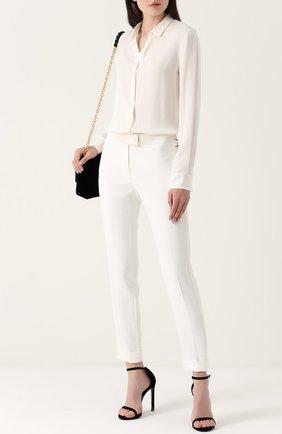 Укороченные брюки с лампасами и отворотами | Фото №2