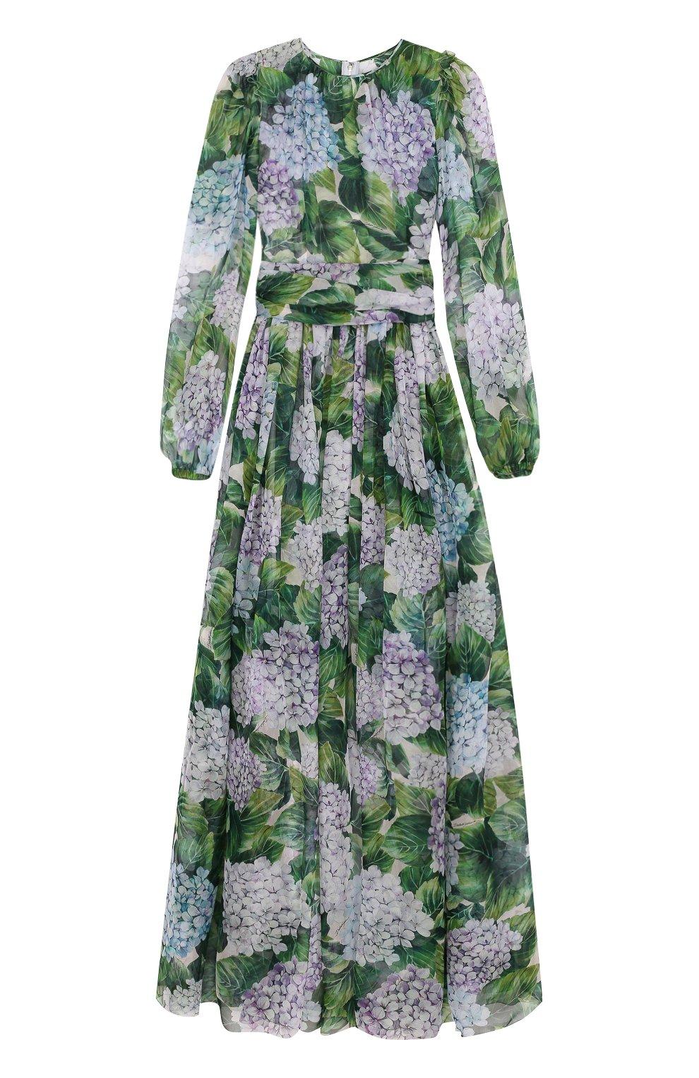 Шелковое платье-макси с цветочным принтом | Фото №1
