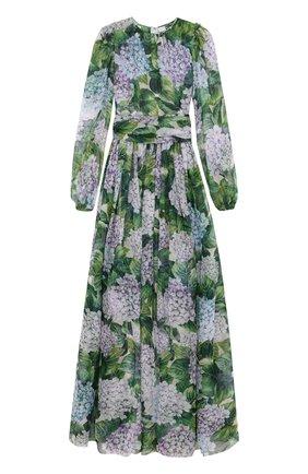 Шелковое платье-макси с цветочным принтом Dolce & Gabbana зеленое | Фото №1