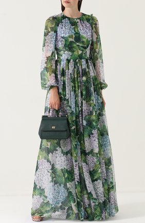 Шелковое платье-макси с цветочным принтом Dolce & Gabbana зеленое | Фото №2