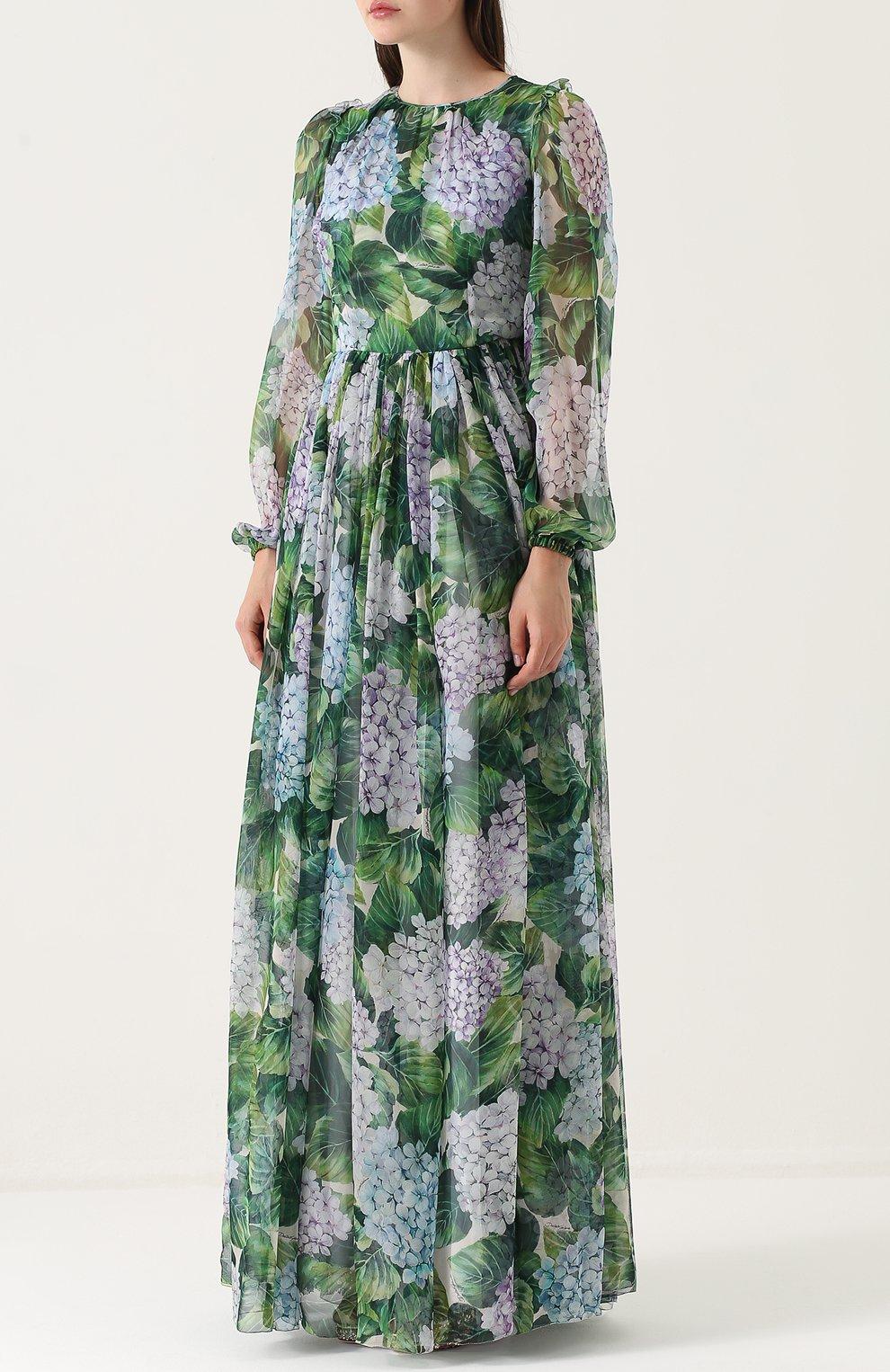 Шелковое платье-макси с цветочным принтом Dolce & Gabbana зеленое | Фото №3