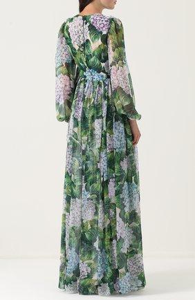 Шелковое платье-макси с цветочным принтом Dolce & Gabbana зеленое | Фото №4