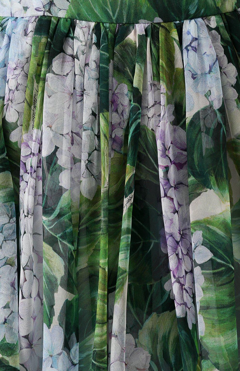 Шелковое платье-макси с цветочным принтом Dolce & Gabbana зеленое | Фото №5