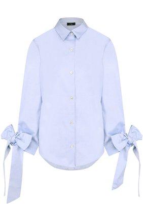 Хлопковая блуза свободного кроя с бантами на рукавах | Фото №1