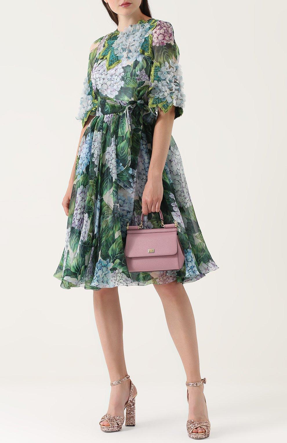 Босоножки с вышивкой пайетками на устойчивом каблуке Dolce & Gabbana бронзовые | Фото №2