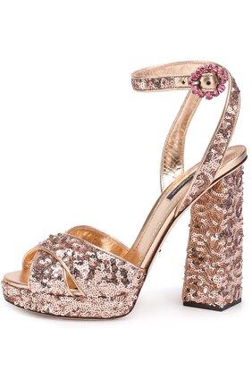 Босоножки с вышивкой пайетками на устойчивом каблуке Dolce & Gabbana бронзовые | Фото №3