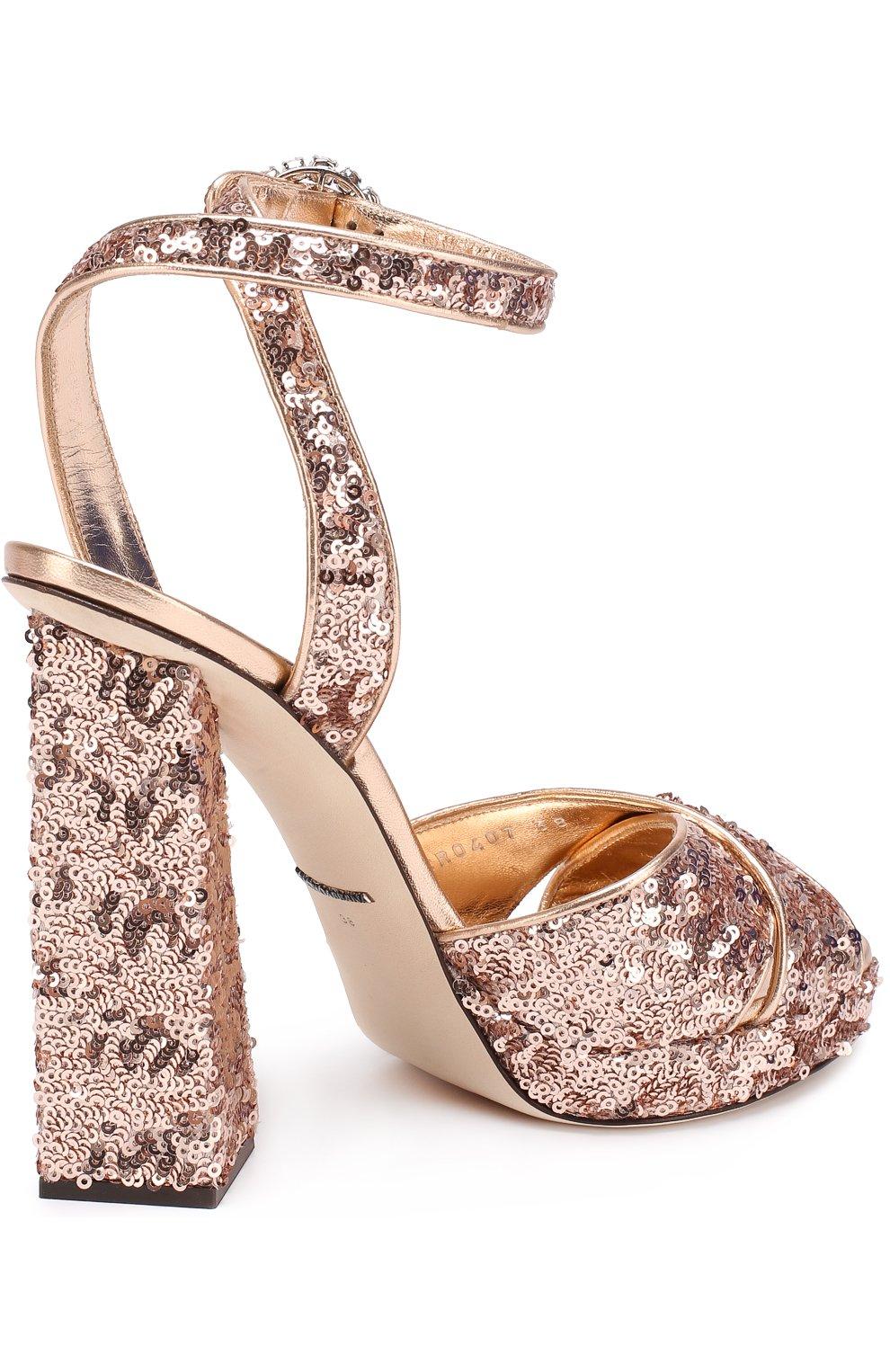 Босоножки с вышивкой пайетками на устойчивом каблуке Dolce & Gabbana бронзовые | Фото №4