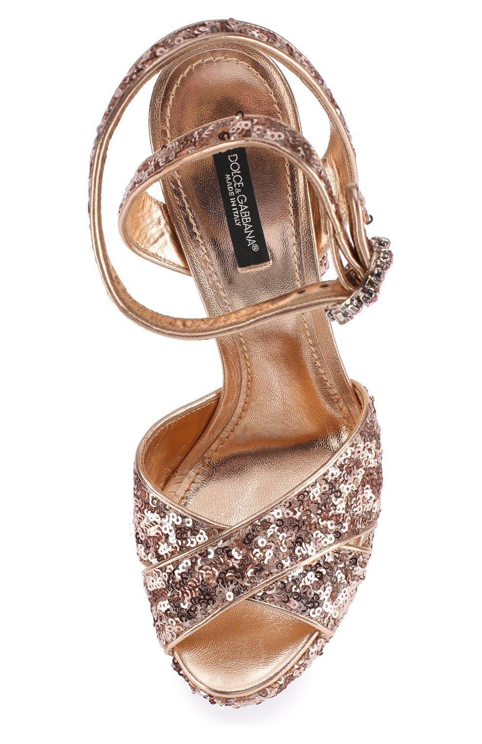 Босоножки с вышивкой пайетками на устойчивом каблуке Dolce & Gabbana бронзовые | Фото №5