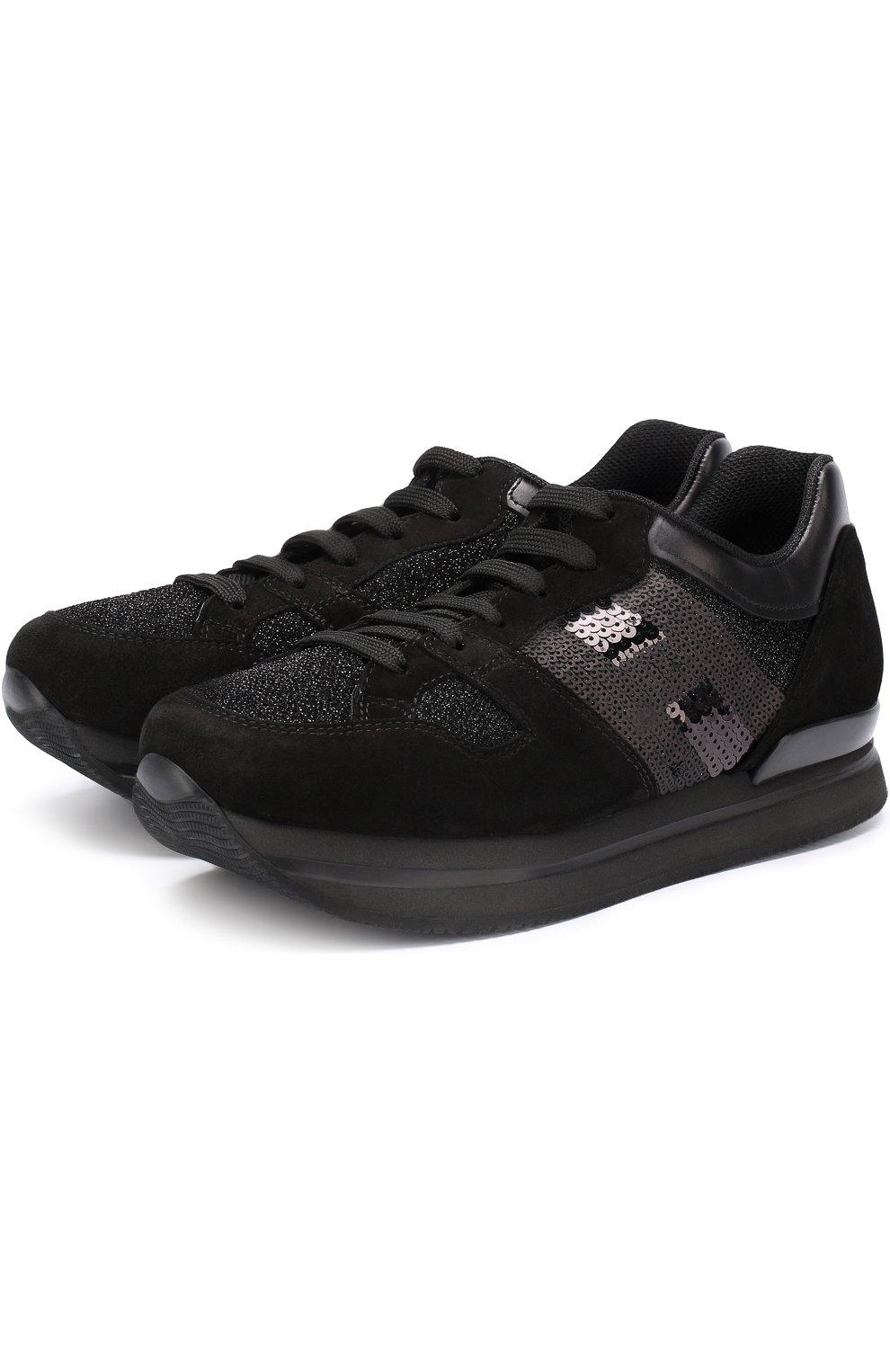 Комбинированные кроссовки с вышивкой пайетками | Фото №1