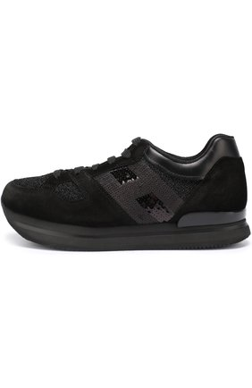 Комбинированные кроссовки с вышивкой пайетками Hogan черные | Фото №3