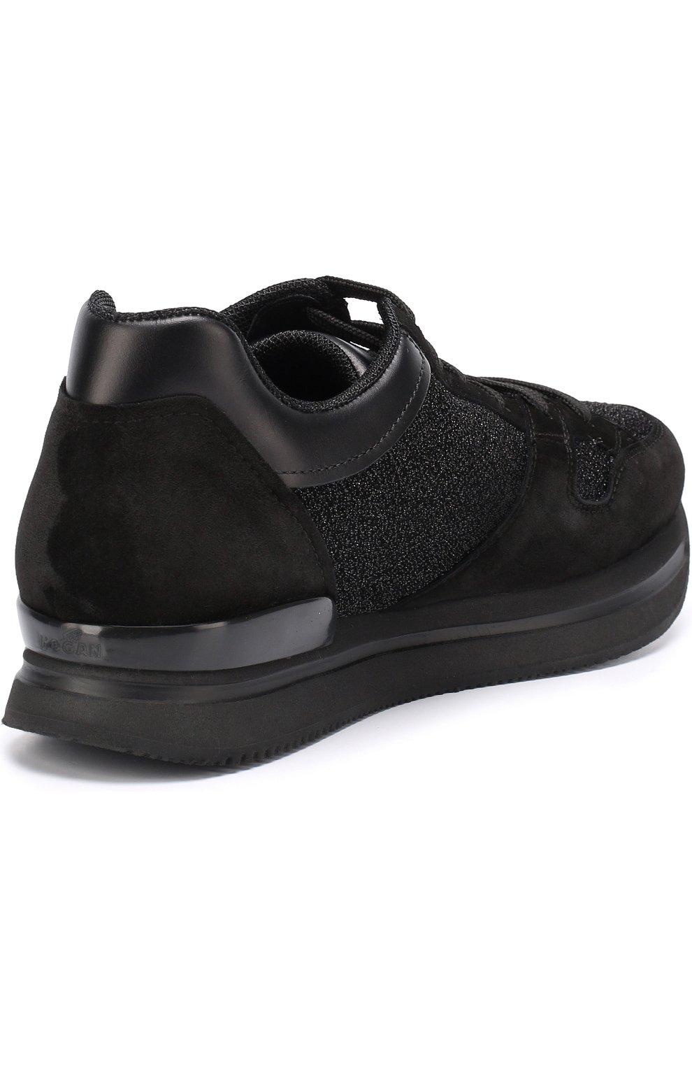 Комбинированные кроссовки с вышивкой пайетками Hogan черные | Фото №4