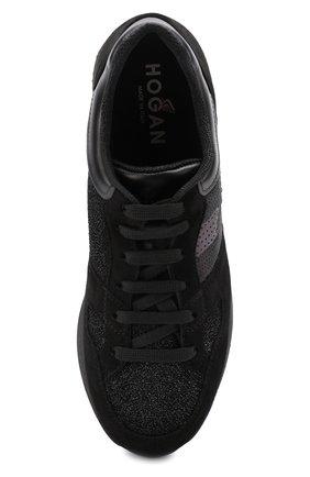 Комбинированные кроссовки с вышивкой пайетками Hogan черные | Фото №5