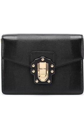 Сумка Luciaиз тисненой кожи Dolce & Gabbana черная цвета | Фото №1