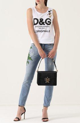 Сумка Luciaиз тисненой кожи Dolce & Gabbana черная цвета | Фото №2