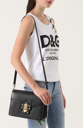 Сумка Luciaиз тисненой кожи Dolce & Gabbana черная цвета | Фото №5