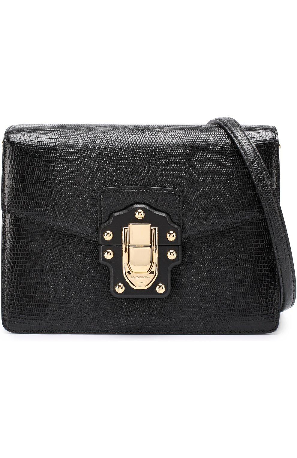 Сумка Luciaиз тисненой кожи Dolce & Gabbana черная цвета | Фото №6