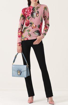Сумка Luciaиз тисненой кожи Dolce & Gabbana голубая цвета   Фото №2