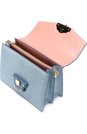Сумка Luciaиз тисненой кожи Dolce & Gabbana голубая цвета   Фото №4