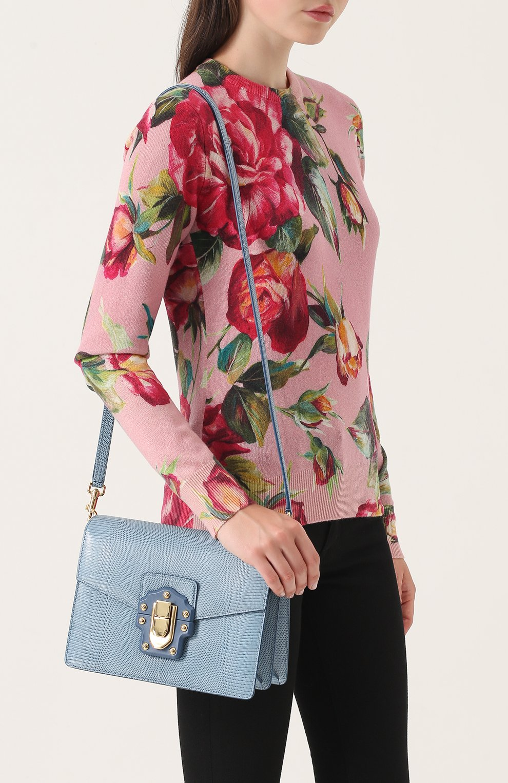Сумка Luciaиз тисненой кожи Dolce & Gabbana голубая цвета   Фото №5
