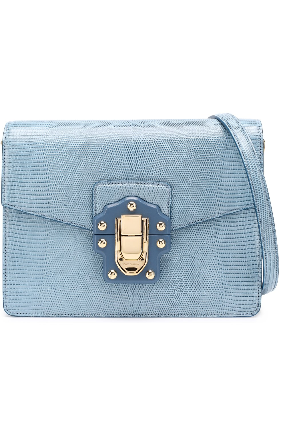 Сумка Luciaиз тисненой кожи Dolce & Gabbana голубая цвета   Фото №6