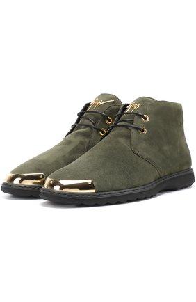 Замшевые ботинки на шнуровке с металлической отделкой мыса Giuseppe Zanotti Design хаки | Фото №1