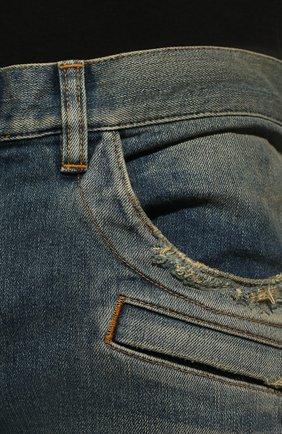 Джинсы-скинни с потертостями Balmain синие | Фото №5