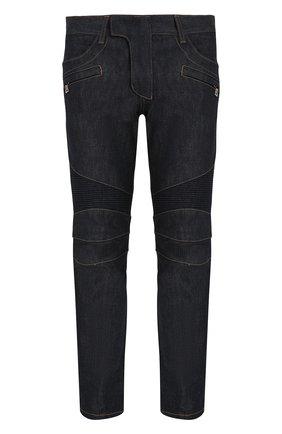 Мужские джинсы скинни с декоративной прострочкой BALMAIN синего цвета, арт. P0H/T551/D204 | Фото 1