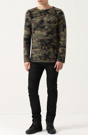 Мужские джинсы скинни с декоративной прострочкой BALMAIN черного цвета, арт. P0H/T551/D204 | Фото 2