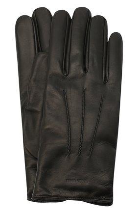 Мужские кожаные перчатки с кашемировой подкладкой GIORGIO ARMANI черного цвета, арт. 744133/7A203 | Фото 1