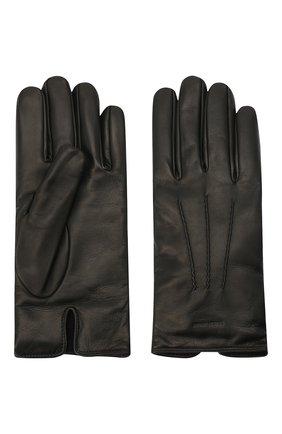 Мужские кожаные перчатки с кашемировой подкладкой GIORGIO ARMANI черного цвета, арт. 744133/7A203 | Фото 2