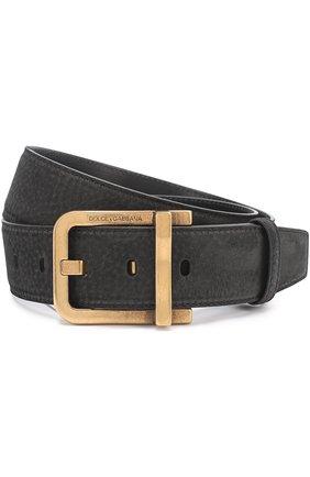 Кожаный ремень с металлической пряжкой Dolce & Gabbana черный   Фото №1