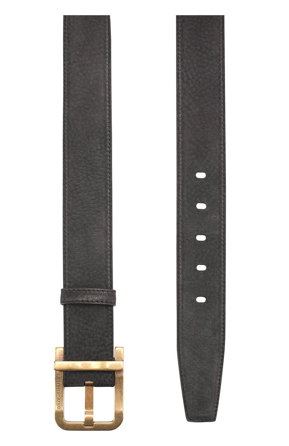 Кожаный ремень с металлической пряжкой Dolce & Gabbana черный   Фото №2