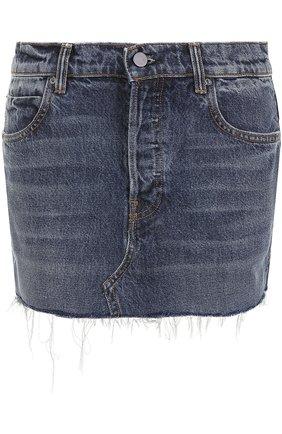 Джинсовая мини-юбка с потертостями Denim X Alexander Wang синяя | Фото №1