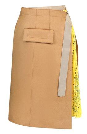 Юбка-миди с плиссированной принтованной вставкой Sacai бежевая | Фото №1