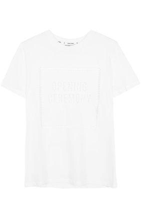 Хлопковая футболка с круглым вырезом и перфорацией | Фото №1