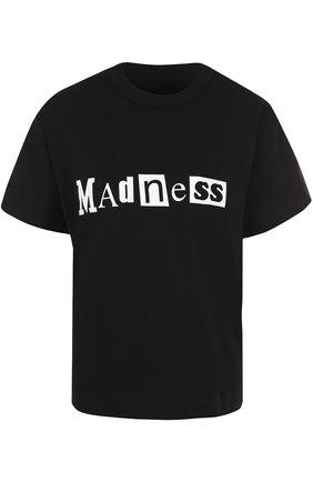 Хлопковая футболка с надписями Sacai черная | Фото №1