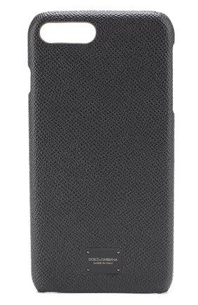 Мужской кожаный чехол для iphone 7 plus DOLCE & GABBANA темно-серого цвета, арт. 0115/BP2264/AI359 | Фото 1