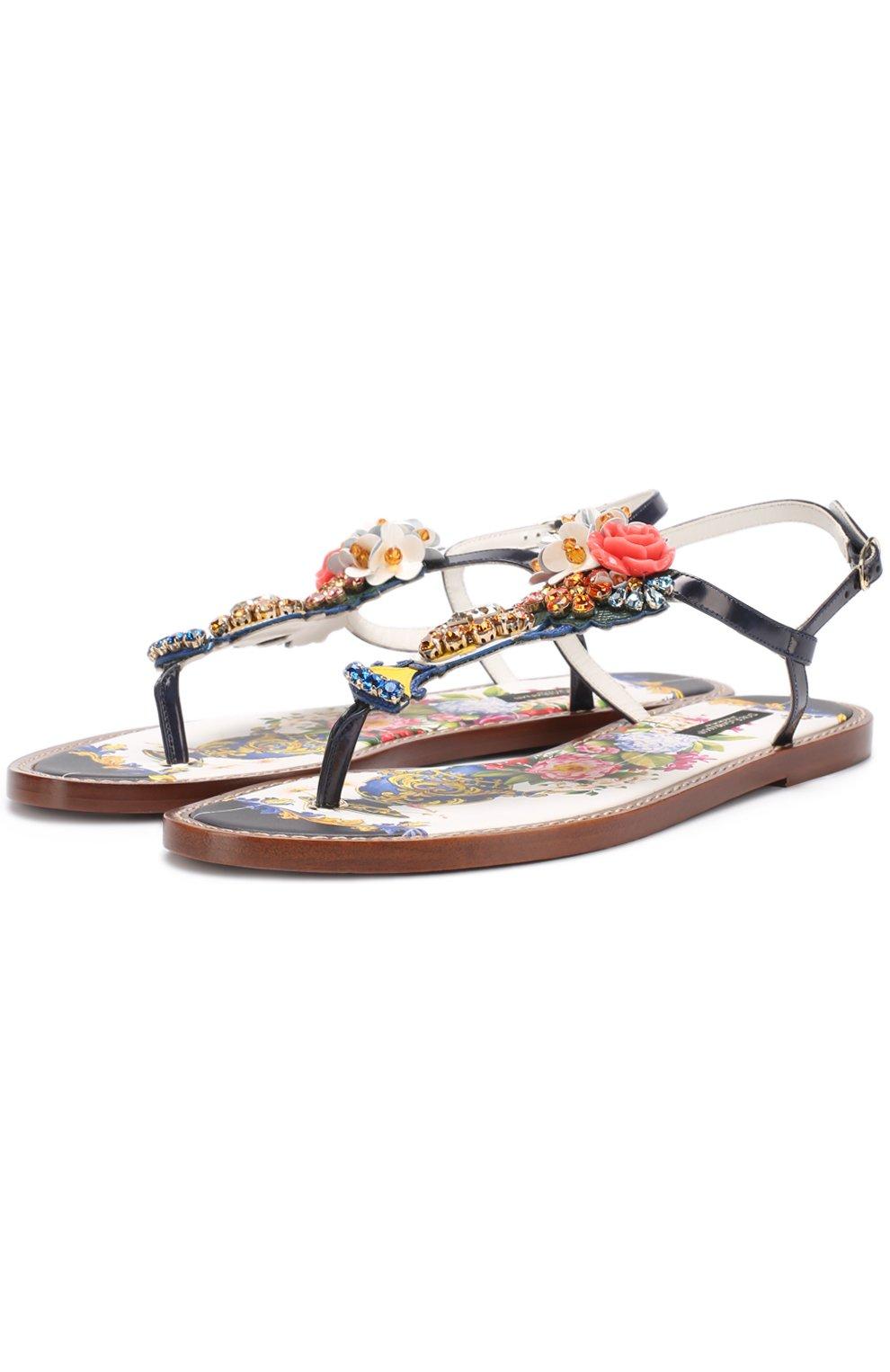 Кожаные сандалии с кристаллами | Фото №1