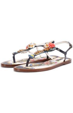 Кожаные сандалии с кристаллами Dolce & Gabbana разноцветные | Фото №1