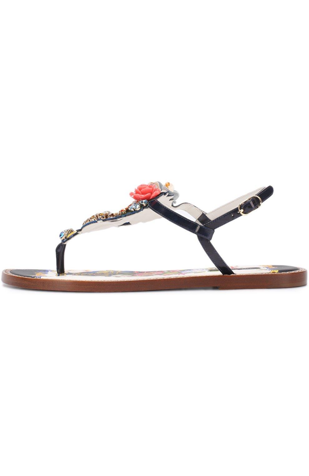 Кожаные сандалии с кристаллами Dolce & Gabbana разноцветные | Фото №3